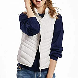 Womens Vest with Pockets, Zip Up Sleeveless Stand Collar Lightweight Quilted Padded Casual Fall Warm Jackets Outerwear (Color : White, Size : S)