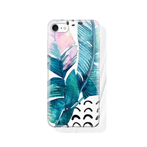 iPhone 8 & iPhone 7 Clear case Leaves, Akna Collection Flexible Silicon Cover for Both iPhone 8 & iPhone 7 [Summer Winds](1228-U.S)