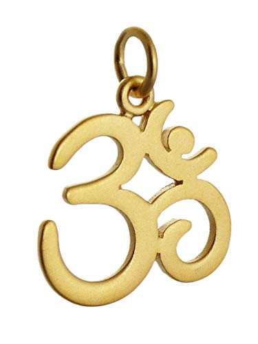 Om Pendant - 24K Gold Plate Sterling Silver - Charm Namaste Yoga Ohm Gift - Jewelry Accessories Key Chain Bracelets Crafting Bracelet Necklace Pendants