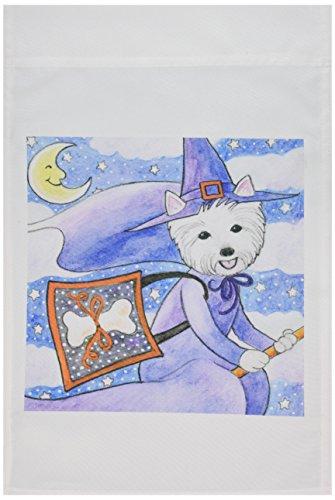 3dRose fl_23301_1 West Highland Terrier Westie in Costume Witch Halloween Westie Dog Garden Flag, 12 by 18-Inch