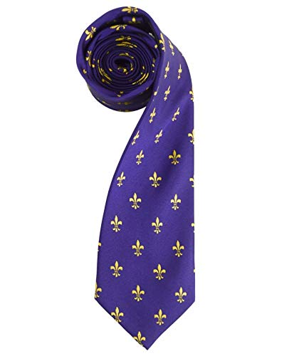 Men's French Fleur de Lis Symbol Designer Novelty Tie Necktie (Purple & Gold) ()