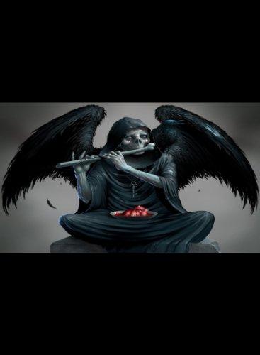 Rectangle Refrigerator Magnet - Skeleton Grim Reaper Angel w/Wings Playing Bone Flute]()