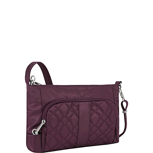 Travelon Women's Anti-Theft Signature E/w Slim Bag Shoulder, Wineberry One Size
