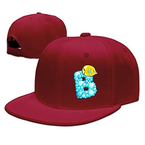 ZOENA Ocean Alphabet B Cartoon Cotton Hats Hip Hop Hat For Outdoor Sports Red