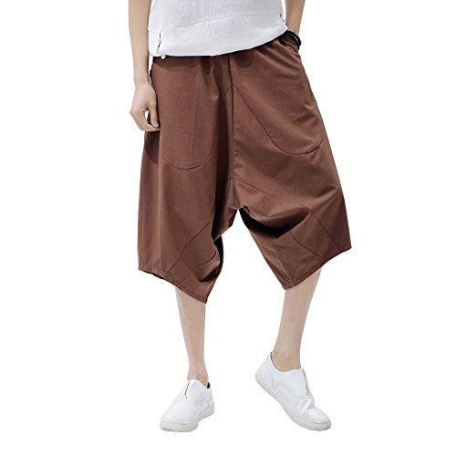 Waist Wide Leg Cotton Harem Baggy Pants Patchwork Linen Capri Trousers Men's Legging ()