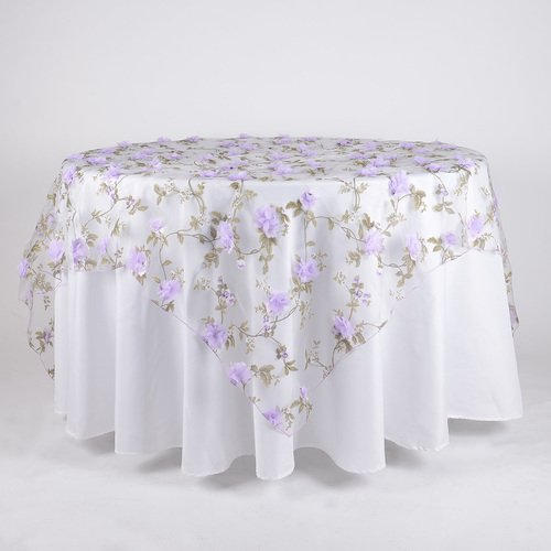 BBCrafts 72 Inch X 72 Inch Organza with Roses Print Tablecloth Overlay (Lavender)