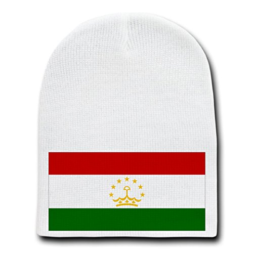 Tajikistan - World Country National Flags - White Beanie Skull Cap Hat
