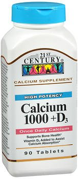 21st Century Calcium 1000 + D3 Supplement Tablets – 90 ct, Pack of 3
