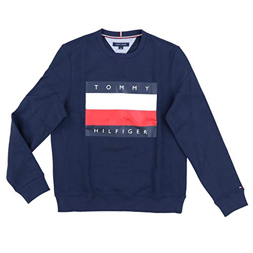 - Tommy Hilfiger Mens Logo Sweatshirt (X-Large, Navy Blue)