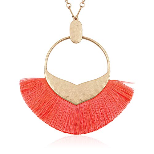 RIAH FASHION Bohemian Fringe Tassel Pendant Statement Necklace - Silky Strand Semi Circle Fan Charm, Teardrop Thread, Freshwater Pearl Charm Long Chain (Mermaid Tail Tassel - Coral) ()