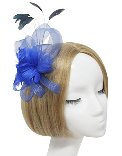 Urban CoCo Women's Fascinator Feather Flower Hair Clip Headwear Bridal Headpieces (Royal blue)