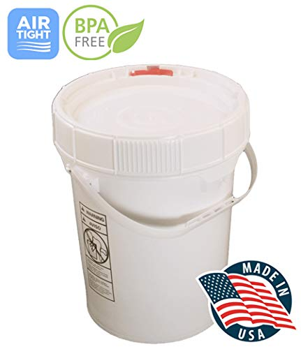 5 Gallon White BPA Free Durable Food Grade Bucket with Screw Lid, All Purpose Storage Plastic Pail