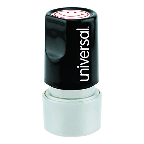 Message Round Stamp (Universal Round Message Stamp, Smiley Face, Pre-Inked/Re-Inkable, Red (10080))