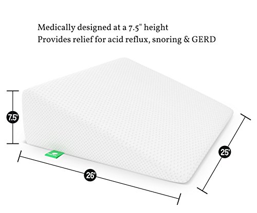 Bed Wedge Pillow with Memory Foam Top by Cushy Form - Best for Sleeping, Reading, Rest or Elevation - Breathable and Washable Cover (7.5 Inch Wedge, White) by Cushy Form (Image #2)