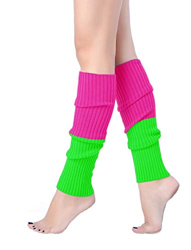 V28 Women 80s Party Warm Costume Marathon Knit Long Socks Leg Warmers