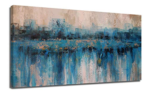 "Canvas Wall Art Painting Abstract Modern Blue Themes Cityscape Textured Teal Picture, Large Size One Panel 48""x24"" Framed Artwork Prints Ready to Hang for Living Room Bedroom Home Office Mural Décor - 💫ABSTRACT CANVAS WALL ART SIZE: 48inx24in(120cmx60cm), wooden framed and hook mounted ready to hang. It's our original design. 💫BLUE ARTWORK WALL DECOR: Perfect blue abstract decor for living room, bedroom, dinning room, kitchen, home, office, bar, hotel etc. 💫NAVY GRAY PAINTING ART: Giclee prints blue abstract picture on thick canvas, best gifts for friends, business parter, family, lovers etc. - wall-art, living-room-decor, living-room - 410pgTqmOvL -"