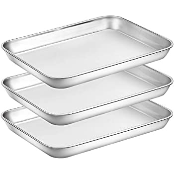 Baking Sheet Pan for Toaster Oven, Stainless Steel Baking Pans Small Metal Cookie Sheets by Umite Chef, Superior Mirror Finish Easy Clean, Dishwasher Safe, 9 x 7 x 1 inch, 3 Piece/set ...