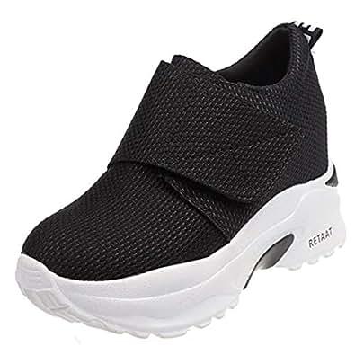 RAZAMAZA Women Fashion High Heel Trainers Platform Shoes Velcro Sneakers Wedge Heel Daily Shoes Round Toe Black Size 35 Asian