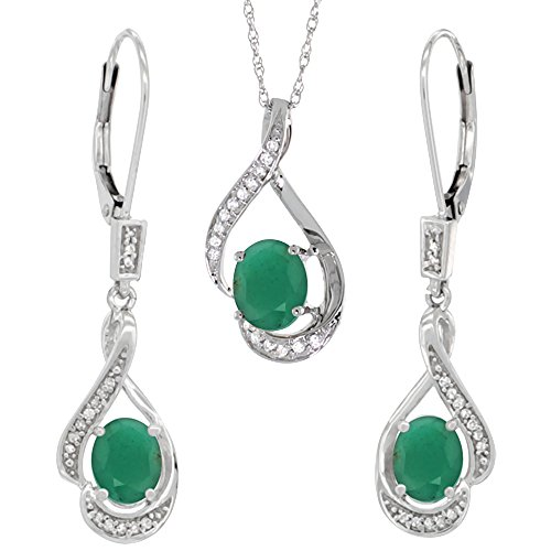 14K White Gold Diamond Natural Cabochon Emerald Lever Back Earrings Necklace Set Oval 7x5mm, 18 inch long ()