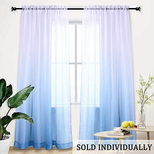 Ombre Sheer Curtains Light Blue Gradient Semi Window Curtain Teenage Girls Bedroom Curtains Voile Drapes for Girls Room/Kid's Room/Nursery/Living Room/Closet Blue and White 95 inches Set of 1 Panels (Ombre Curtain Panel Blue)