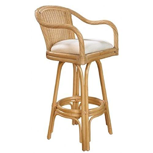 Hospitality Rattan Key West Indoor Swivel Natural Finish Rattan and Wicker 30-inch Bar Stool with Cushion