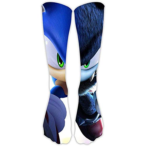 yantaiyu-sock Ligas Calcetines So-N-Ic The Hedgehog Shadow Speed ​​Impreso Casual High Stocking For Sport Dress Gift