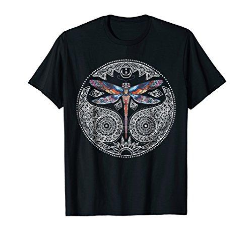Magical Colorful Dragonfly Mandala T-Shirt & Design