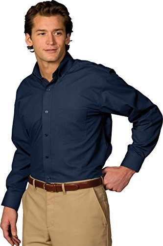 Edwards Garment Men's Big And Tall Easy Care Poplin Long Sleeve - T-shirt Edward Fitted