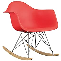 Modway EEI-147-RED Molded Plastic Mid-Century Retro Modern Armchair Rocker in Red
