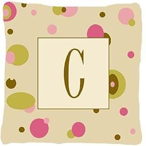 Letra C inicial Monogram–Tan puntos decorativo tela almohada