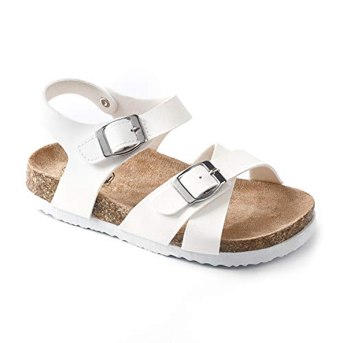 Trary Cork and Adjustable Strap Flats Sandals for Kids (Little Kids) White L13 -
