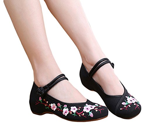AvaCostume Embroidery Womens Classics Flats Rubber Sole Casual Shoes Black1 40 ()