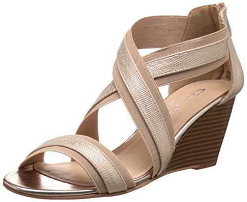CL by Chinese Laundry Womens Nia Wedge Pump Sandal Gold/Natural Snake-gore