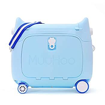 Image of ANIMOR Kids Travel Partner Ride-On Suitcase and Carry-On Luggage, Classic Rolling Luggage (Sky Blue) Luggage