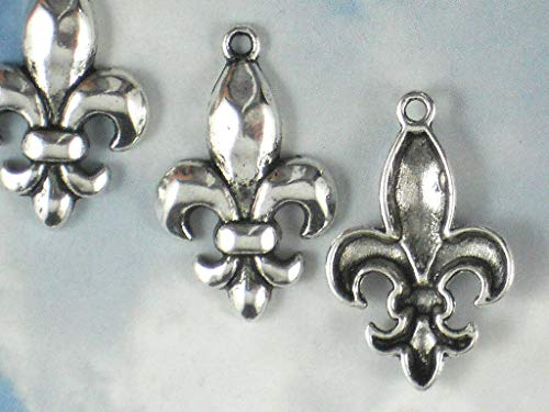 - Lot 6 Charms Fleur de Lis Silver Tone Pendants - Fluer Ragin Cajuns Vintage Crafting Pendant Jewelry Making Supplies - DIY Necklace Bracelet Accessories CharmingSS