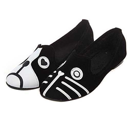 Gaorui Women Ladies Suede Loafers Ballet Flats Slip On Pumps Cat Dog Face Casual Comfortable Summer Shoes Cat Dog G723s