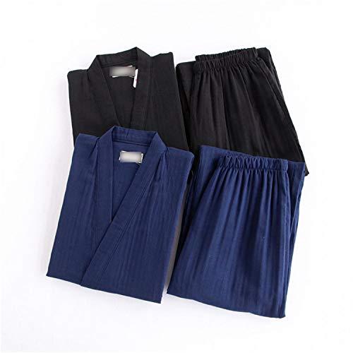 Thadensama Black Kimono Robes for Male 100% Cotton Pajamas Sets Japanese Sauna Robes Mens Pyjamas Pijama Hombre Spa Homewear Bathrobes Men Rbs Blue L at ...