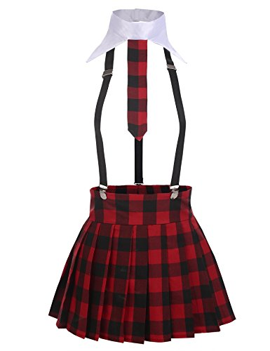 Yealsha Womens Plaid Skirt Schoolgirl Costume Uniform Lingerie Set Role Play Babydolls (Red M)