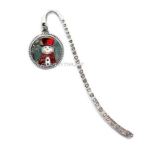 Christmas Bookmark Christmas Jewelry Glass Tile Bookmark Snowman Jewelry Snowman Bookmark Glass Tile Jewelry Silver Jewelry Black Jewelry,ot220 (A3)