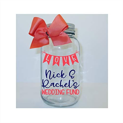 (Love Banner Wedding Fund Personalized Mason Jar Bank - Coin Slot Lid - Available in 3)
