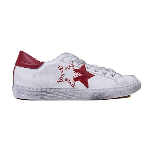 2 Star Sneakers Unisex Low, 1801/BIANCO/ROSSO, in Pelle, Colore Bianco Rosso,Brand Chiara Ferragni, Nuova Collezione Primavera Estate 2018
