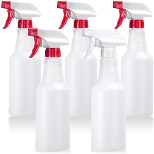 Veco Spray Bottle (5 Pack,16 Oz) with Measurements and Adjustable Nozzle(Mist & Stream Mode), HDPE Plastic Spray Bottles…