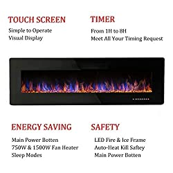 R.W.FLAME Electric Fireplace, Recessed/Wall Mounted 1500W Fireplace Heater with Remote Control, Multicolors and Speed, Touch Screen(Black) by R.W.FLAME