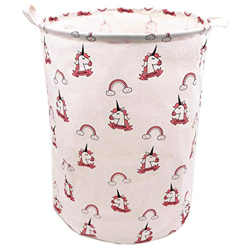 Pink Rainbow Unicorn Laundry Hamper For Girls 19.7 x 15.7 Inch, ZUEXT Extra Large Canvas Fabric Collapsible Storage Basket, Waterproof Clothes Bin, Toy Bins, Gift Baskets for Bedroom,Baby Nursery,Kids (Tall Kids Hamper)