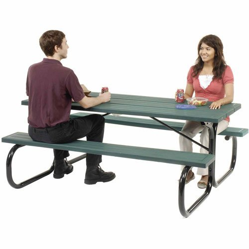 72'' Picnic Table, Plastic, Green Top With Black Frame