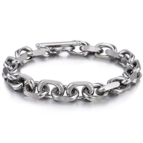 Trendsmax 9mm Mens Chain Silver Tone Cable Link Stainless Steel Bracelet T/O Toggle Clasp 8inch ()