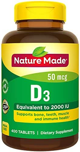 Nature Made Vitamin D3 2000 I.U. 400 Tablets Value Size