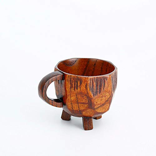 RTLMKB Coffee Mug ,Suitable for,families, restaurants. natural wood teacup wine glass coffee cup tea set classical handle cup handmade three-legged cup beech wood cup