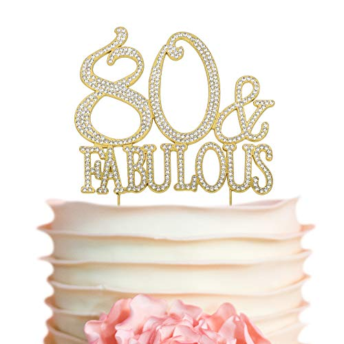 80 & Fabulous GOLD Cake Topper | Premium Sparkly Bling Rhinestone Crystal Diamond Gems | 80th Birthday Decoration Ideas | Perfect Keepsake (80&Fab Gold) -