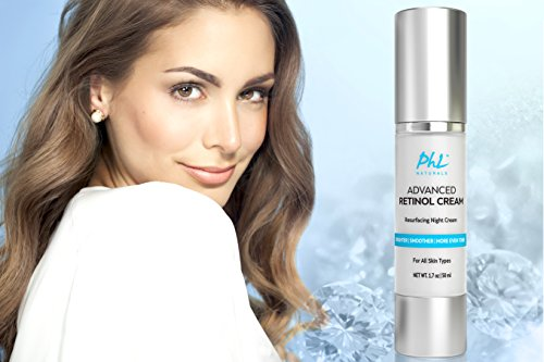 PHL Naturals Advanced Retinol Cream with Hyaluronic Acid - Premium Anti-Aging Night Cream for Cellular Renewal, Anti-Wrinkle Facial Moisturizer for Youthful Skin Ideal for Women & Men - 1.7 oz